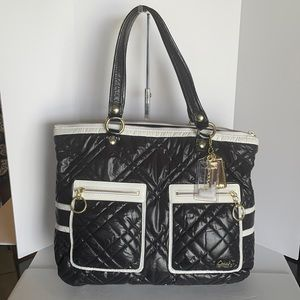 COACH POPPY SKI BUNNY BLACK GLAM TOTE!